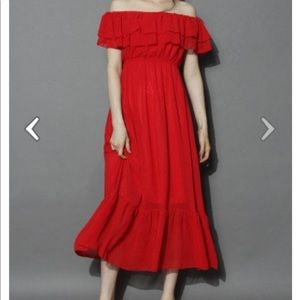Blissful Frilling Off the Shoulder Red Chicwish